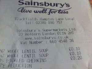 Lentil Soup Heinz full size tin 10p at Sainsbury's Local (instore)