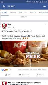 8 hot wings free with every 10 piece (or more) bucket (Fri-Sun) at KFC - £12.99