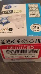 GE LED energy smart GU10 5.5W reduced from £10 to 35p at Waitrose