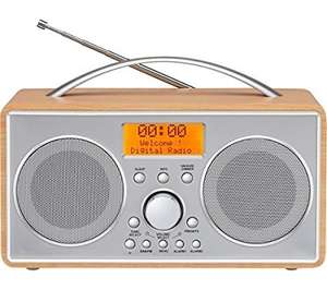 curry's -  LOGIK L55DAB15 Portable DAB+/FM Clock Radio - Silver & Wood  £29.99