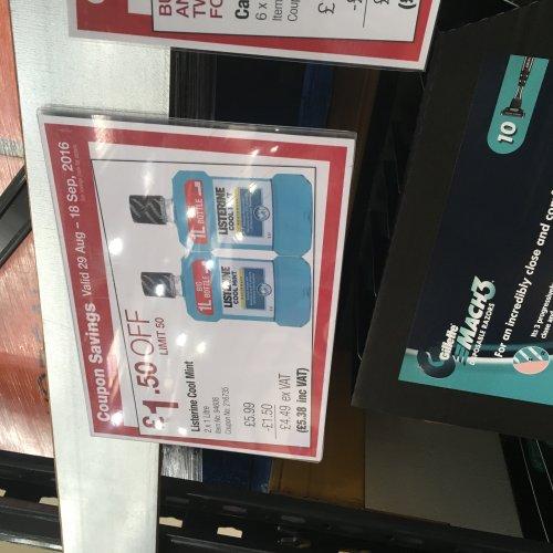 2 X 1litre Listerine Mouthwash bottles at Costco - £5.38!!