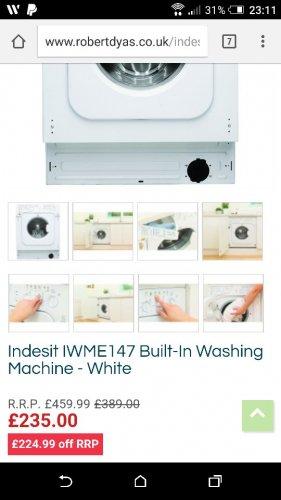 Indesit 7kg 1400 Built-In Washing Machine - White £235 at Robert Dyas
