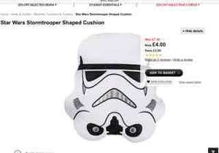 Star Wars Storm Trooper Shaped Cushion £4 at Asda
