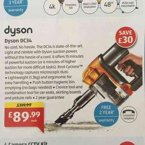 Dyson hand held DC34 £89.99 Aldi New Store Deal: Colchester Cowdray Avenue
