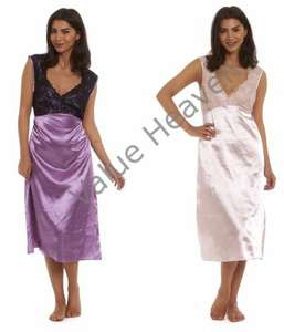 Ladies Satin Nightdress Lace Nightie Silky Negligee Pink Purple Knee Length Sexy £4.95 delivered value-heaven / Ebay