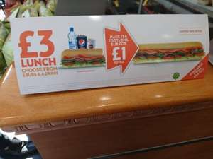 Make your Subway £3 Lunch a Footlong for £1 extra (starts 5th October) £4 @ Subway (Selected Stores)