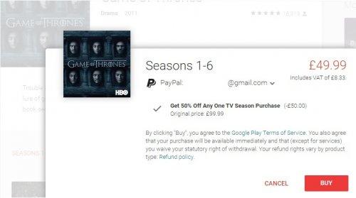50% off TV seasons at Google Play and Amazon Video