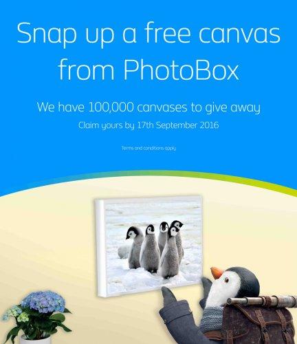 Free Canvas 30 x 20 CM - British Gas & PhotoBox.com (foryourewards.co.uk invite only)