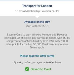 Amex, 10 extra points for each £2 spend on contactless transport (London) Payments