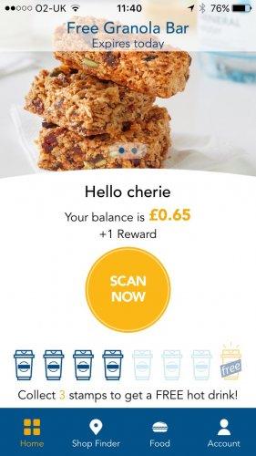 Greggs app free granola bar