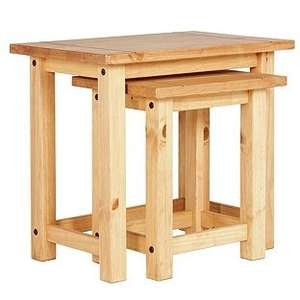Argos - San Diego Nest of 2 Tables - Solid Pine - £22.99