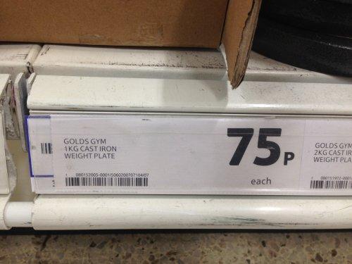 Golds Gym 1kg Cast Iron Weight Plate £0.75 @ Tesco Instore (Rutherglen)