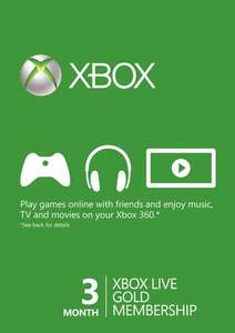 3 Month Xbox Live Gold Membership Card (Xbox One/360) - £8.44 (with 5% facebook discount) £8.89 without - CDKeys