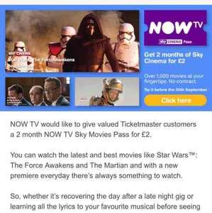 Now TV 2 month movie pass for £2 ticket master customers