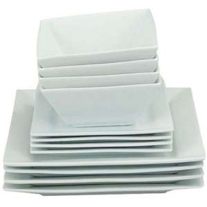 Home of Style Porcelain Square Dinner Set - White - 12 Pieces £15.43 @ Homebase Free C&C