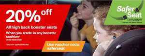 Halfords - 20% off car seats when you trade in 'old style' booster seat.