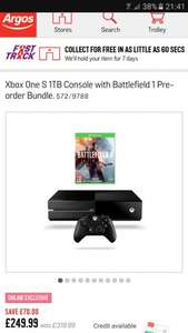 Xbox One S  Battlefield 1 £249.99 @ Argos **Amended to 500gb - expired**