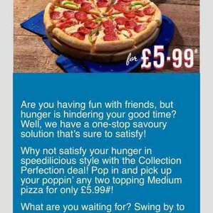 2 topping medium Dominos pizza for £5.99 (add £2 large)