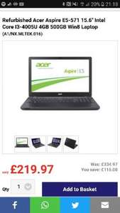"Refurbished Acer Aspire E5-571 15.6"" Intel Core I3-4005U 4GB Intel HD4400 500GB Win8 Laptop £224.92 @ Laptops Direct"