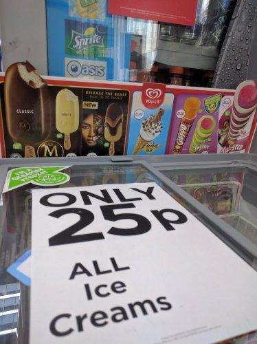 All ice creams 25p @ wh smiths (Aberystwyth)