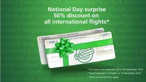 50% off Saudi Airlines