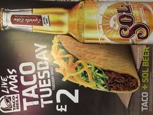 Taco Tuesday - taco meat or veggie and bottle of Sol £2 @ Taco Bell