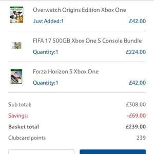 Xbox One S 500GB and 3 games for £239 Tesco