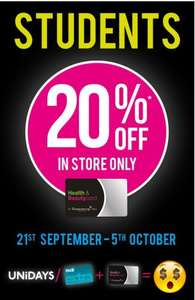 20% off for students at Superdrug (in store)