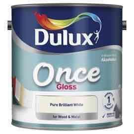 Dulux Once Gloss pure brilliant white 2.5L £13.30 Tesco