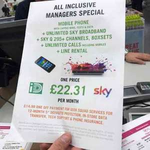sky deal through carphone warehouse £22.31 month
