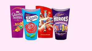 Deal and code stacking - 8 cartons of Quality Street/Celebrations £5 (that's 2kg of chocolate) or Quality Street Tin 1.3kg £4 or Coca cola 24 cans £4 @ Tesco Groceries online (c+c next day)