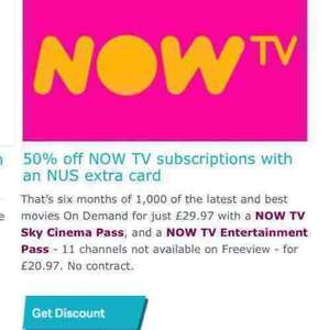 6 months half price NOWTV movies pass (4.99 a month instead of 9.99) for Student NUS card holders