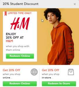 UNIDAYS - H&M -20% + Free Standard Shipping