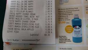 Aldi Baby Event - Mamia Sterilising Fluid 1l, should be £1.99, scanning at 99p