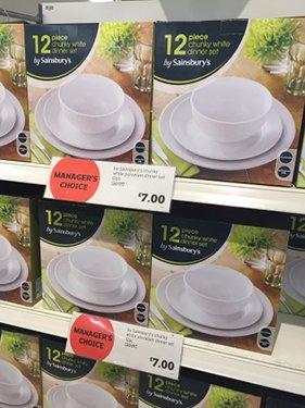 Sainsbury 12 Piece Chunky White Dinner Set £30 down to £7