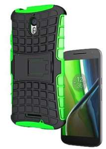 Shock Proof Armour Hybrid Gorilla Stand Case Cover For Motorola Moto G4 4th Gen ( GREEN) with STYLUS+SCREEN PROTECTOR+CLEANING CLOTH 99p @ hereforagooddeale / Bay