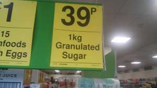 1kg sugar 39p @ Farmfoods