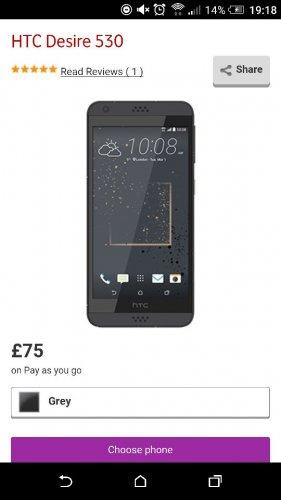HTC DESIRE 530 16GB £75 PAYG (PLUS 10 TOPUP) £85 @ VODAFONE