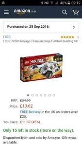 LEGO 70588 Ninjago Titanium Ninja Tumbler Building Set £13.62  (Prime) / £18.37 (non Prime) @ Amazon