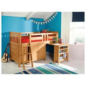 Tesco - Harvey Sleep Station Right or Left Hand Ladder, Natural Pine/Oak Stain £230