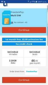 freedom pop - sim only - unlimited mins- unlimited texts -2.25 gb (4G) data - NO CREDIT CHECK £6.99