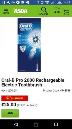 oral B pro 2000 electric toothbrush £25 Asda