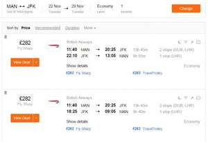 Return Flights Manchester to New York JFK with British Airways during ThanksGiving/BlackFriday £282 @ Kayak