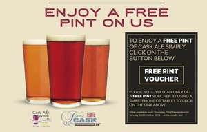 Free pint of cask beer at Punch pubs
