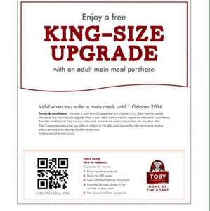 Toby carvery free king size upgrade til Sat 1st Oct