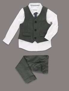 4 Piece Waistcoat, Shirt, Tie & Supercrease™ Trousers Outfit (12-18/18-24 months) £18 @ M&S