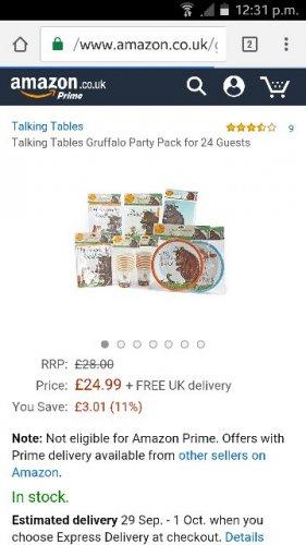 Gruffalo party pack £6.86 prime / £11.61 non prime @ Amazon