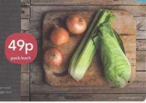 Sweetheart cabbage or Celery or 3 Onions 49p each @ Co-op
