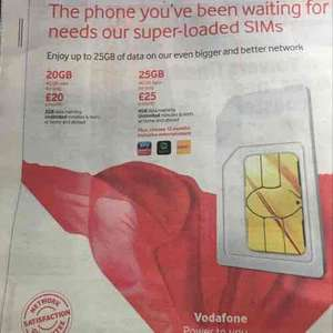 Vodafone Super loaded Sims 20 GB 4G UK  data for only £20 a month. 2 GB data roaming,Unlimited minutes and texts at home and abroad.