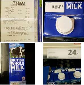 Whole milk & semi skimmed milk 1l, reduced to 24p from 90p in Tesco Addlestone